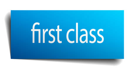 first class: first class blue paper sign isolated on white