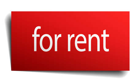 for rent: for rent red paper sign on white background