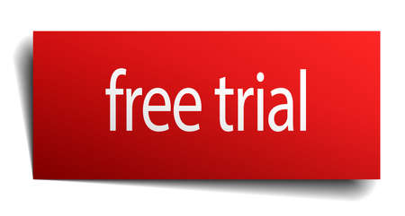 free trial: free trial red paper sign on white background