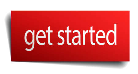 isolated paper: get started red square isolated paper sign on white