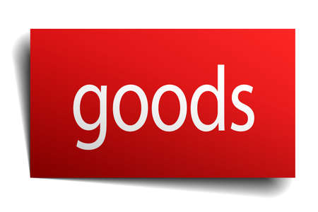 goods red square isolated paper sign on white Illustration