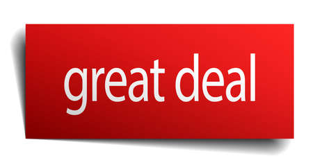 great deal: great deal red square isolated paper sign on white