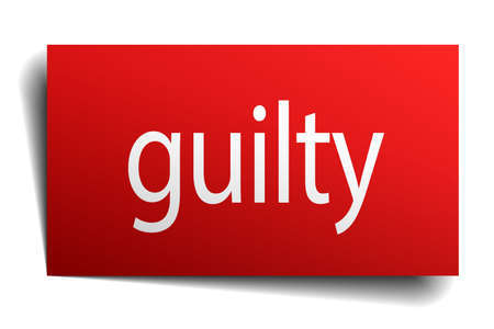 isolated paper: guilty red square isolated paper sign on white
