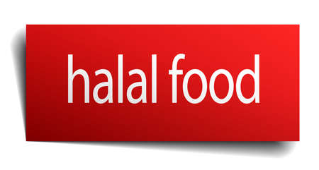 isolated paper: halal food red square isolated paper sign on white Illustration