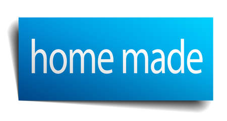 home made: home made blue paper sign on white background