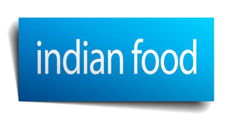 indian food: indian food blue paper sign isolated on white