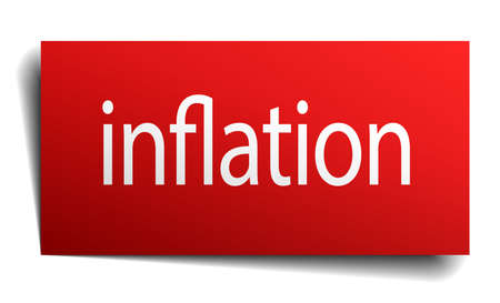 isolated paper: inflation red square isolated paper sign on white