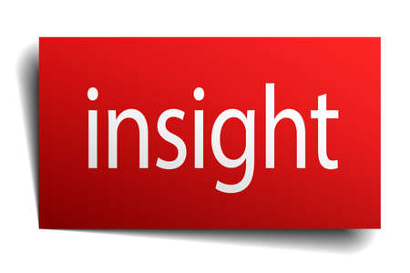 insight: insight red square isolated paper sign on white