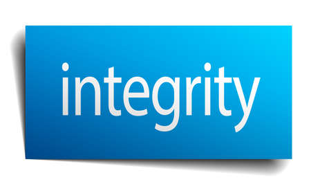 integrity: integrity blue paper sign on white background