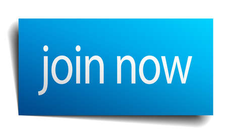 join now: join now blue paper sign on white background