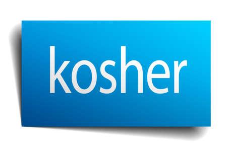 kosher: kosher blue paper sign on white background