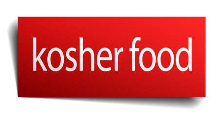 kosher: kosher food red square isolated paper sign on white Illustration