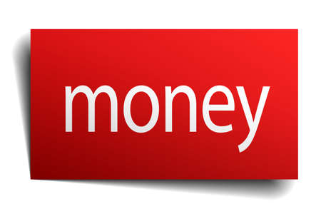 isolated paper: money red square isolated paper sign on white