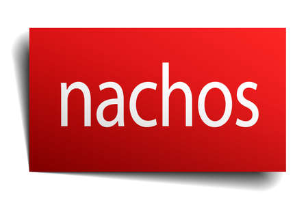 isolated paper: nachos red square isolated paper sign on white