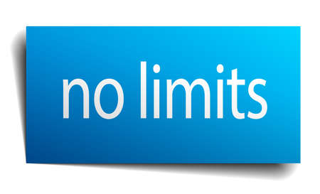 no limits: no limits blue paper sign on white background