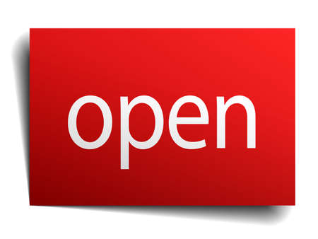 isolated paper: open red square isolated paper sign on white