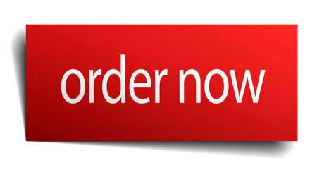 order now: order now red square isolated paper sign on white