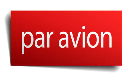 avion: par avion red square isolated paper sign on white