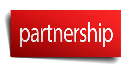 isolated paper: partnership red square isolated paper sign on white
