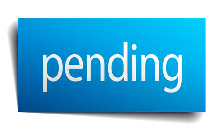 pending: pending blue paper sign on white background