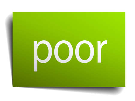 poor: poor square paper sign isolated on white
