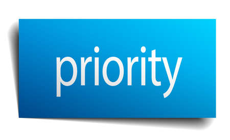 priority: priority blue paper sign on white background