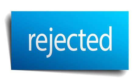 rejected: rejected blue paper sign on white background Illustration