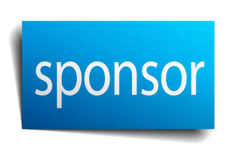 sponsor: sponsor blue paper sign on white background Illustration