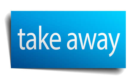 take away: take away blue paper sign isolated on white Illustration