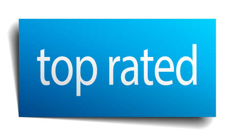 top rated: top rated blue paper sign isolated on white Illustration