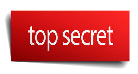 top secret: top secret red paper sign on white background