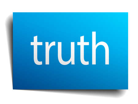truth: truth blue paper sign isolated on white
