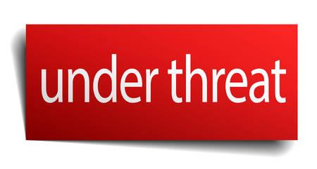 threat: under threat red paper sign on white background
