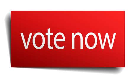 democrats: votar signo de papel ahora de color rojo sobre fondo blanco Vectores