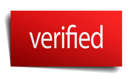verified: verified red paper sign on white background Illustration