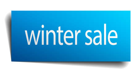 winter sale: winter sale blue paper sign isolated on white
