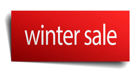winter sale: winter sale red square isolated paper sign on white