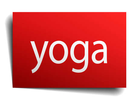 isolated paper: yoga red square isolated paper sign on white
