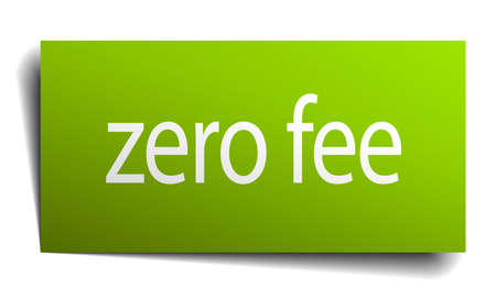fee: zero fee square paper sign isolated on white