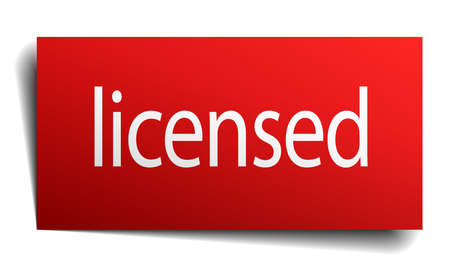 licensed: licensed red paper sign on white background