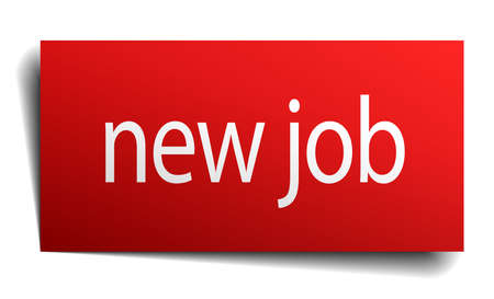 new job: new job red square isolated paper sign on white
