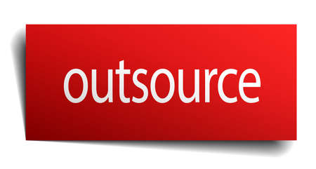 outsource: outsource red square isolated paper sign on white