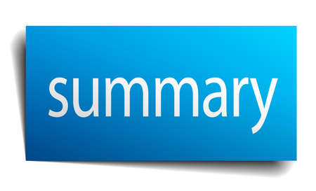 summary: summary blue paper sign on white background