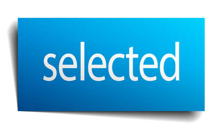 selected: selected blue square isolated paper sign on white