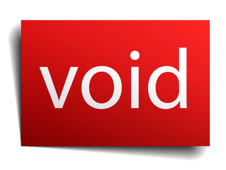 void: void red paper sign on white background Illustration