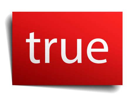 true: true red paper sign on white background Illustration