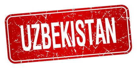 oezbekistan: Oezbekistan rode stempel geïsoleerd op een witte achtergrond Stock Illustratie