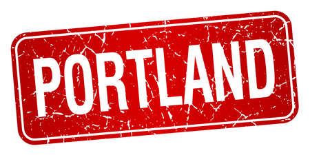 portland: Portland red stamp isolated on white background