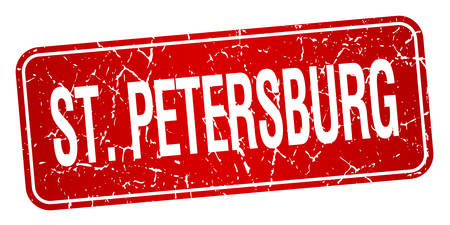 st  petersburg: St. Petersburg red stamp isolated on white background Illustration
