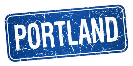 Portland blue stamp isolated on white background Vector